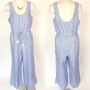 J. Crew size S blue and white striped romper NWT